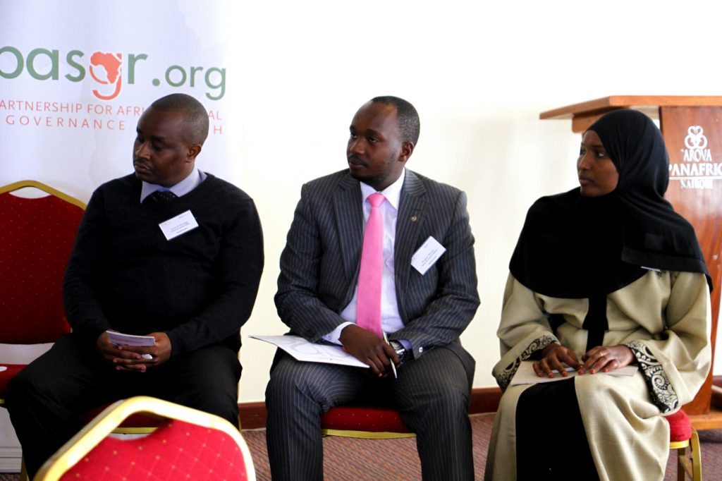Panelists in the 3rd Panel of the data revolution meeting, Mr Victor Mwangu the Chief Statistician in the County Government of Kitui, Mr Douglas Njiraini the Director of ICT in the County Government of Kiambu and Ms Sulekha Adan the Chief Officer ICT in the County Government of Mandera.