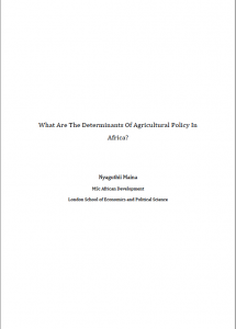 Agriculture Policy in Africa