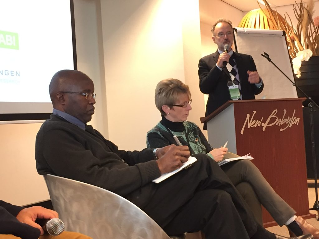 Image of Kiringai Kamau - Executive Director at CANIS, University of Nairobi; Andrea Powell - Chief Information Officer - CABI; André Laperrière - Executive Director, GODAN